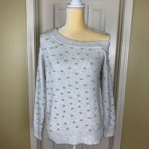Love Token Pearl Embellished One Shoulder Sweater